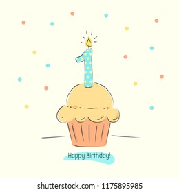 First Birthday boy card with cupcake and candle in flat design style, vector illustration. text happy birthday.