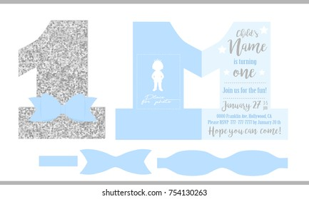 First birthday boy's party. Printable invitation card for little prince. Silver glitter and blue. Shaped invite - number one. Template have place for real child's photo. Decorated die paper tie bow.