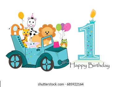 First birthday car with animals background