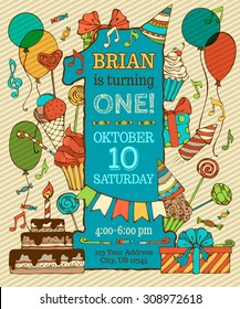 First Birthday Card Invitation. Hand-drawn party blowouts and hats, cakes and candies, garlands and balloons, sweets, gift boxes and bows, music notes and firework, candle on birthday pie.