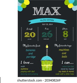 First birthday chalkboard. Birthday infographic. Child birthday.