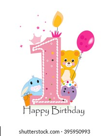 First birthday images stock photos vectors shutterstock first birthday greeting card teddy bear bunny and chick vector background m4hsunfo