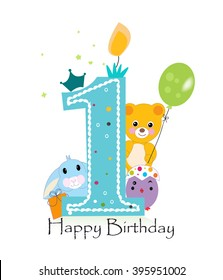 First birthday greeting card. Teddy bear, bunny and chick vector background