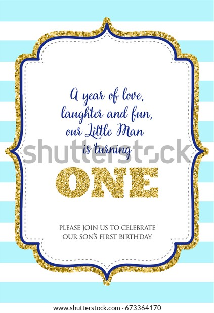 First Birthday Invitation For Boy One Year Old Party Printable Vector Template With Blue