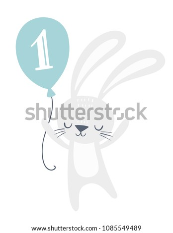 First birthday invitation card design cute stock vector royalty first birthday invitation card design with cute bunny holding a balloon with number one on it filmwisefo