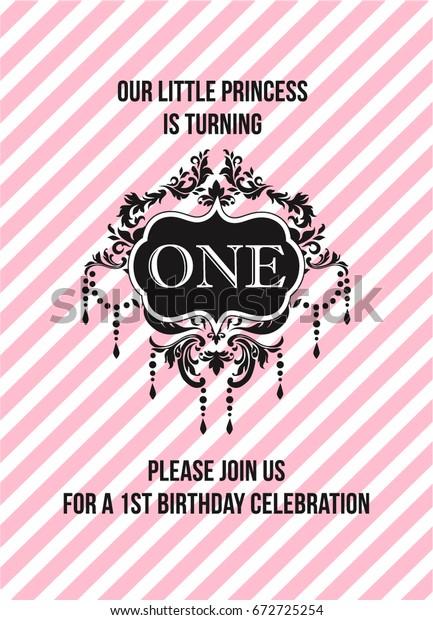 First Birthday Invitation Girl Classy Design Stock Vector