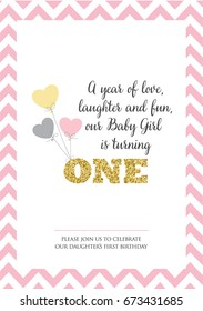 First birthday invitation for girl, one year old party. Printable vector template with stripes background, invite with text A year of love, laughter and fun.