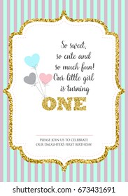 First Birthday Invitation For Girl One Year Old Party Printable Vector Template With Stripes