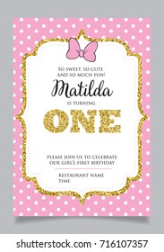 First birthday invitation for girl, one year old party. Printable vector template with pink background with white polka dots, invite with text So sweet, so cute and so much fun.