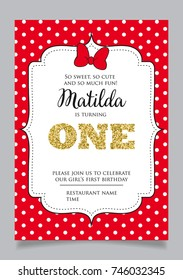 First birthday invitation for girl, one year old party. Printable vector template with red background and white polka dots, invite with text is turning One.