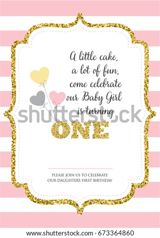 First Birthday Invitation For Girl One Year Old Party Printable Vector Template With Pink