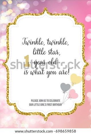 First Birthday Invitation For Girl One Year Old Party Printable Vector Template With Pink Background Invite Text Twinkle Little Star