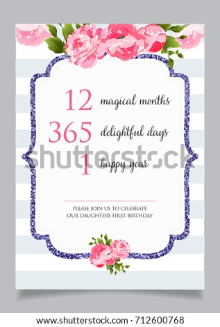 First Birthday Invitation For Girl One Year Old Party Printable Vector Template With Golden Stripes Background Invite Text 12 Months 365 Days 1