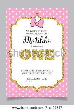 first birthday invitation girl one year stock vector royalty free
