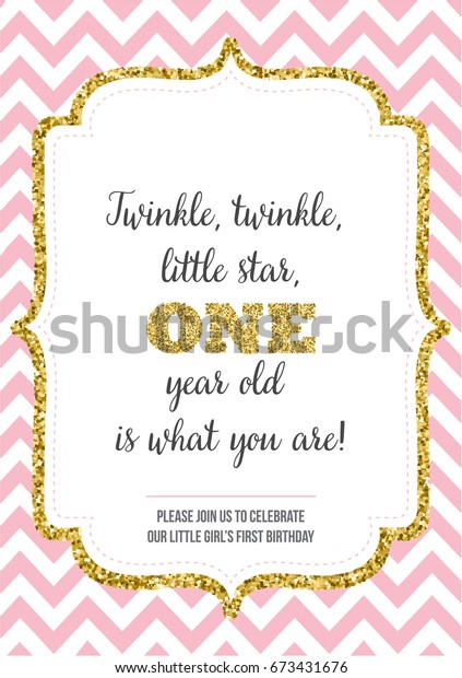 First Birthday Invitation For Girl One Year Old Party Printable Vector Template Invite
