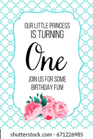 First Birthday Invitation Girl, First Birthday Party Invitation, One Year Old Tiffany Blue Color With Flowers Peonies Printable Invite With Text Our Little Princess.