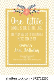 First Birthday Invitation Girl, First Birthday Party Bohemian Chic Invitation, One Year Old Gold Color With Flowers Printable Invite With Text One Little Candle And One Little Cake. Vector Template.