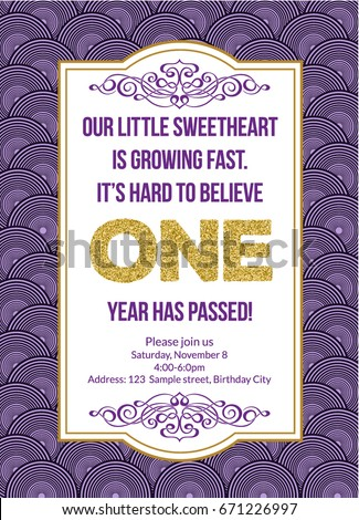 First Birthday Invitation Girl Party One Year Old Purple Printable Invite
