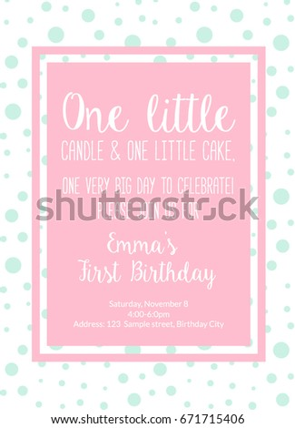First Birthday Invitation Girl Party One Year Old Pink Printable Invite With Text Little Candle And Cake