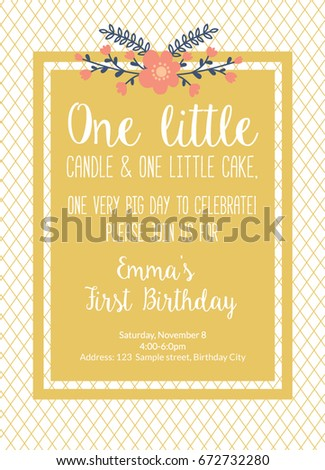 First Birthday Invitation Girl Party Bohemian Chic One Year Old Gold