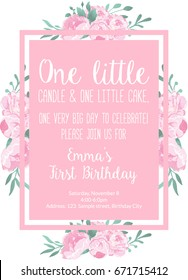 First Birthday Invitation Light Pink For Girl, Party Invitation With Text One Little Candle And One Little Cake. One Year Old With Flowers Peonies Printable Invite
