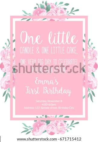 First Birthday Invitation Light Pink For Girl Party With Text One Little Candle And