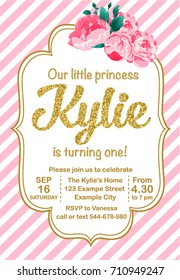 First Birthday Party Invitation Girl, Kylie Is Turning One, Template With Stripes And Flowers Peonies Printable Invite. Golden glitter text. Vector.