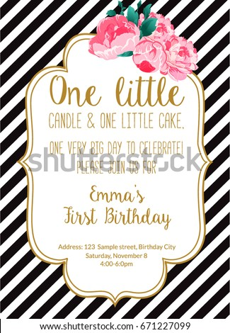 First Birthday Party Invitation Girl With Text One Little Candle And Cake Year Old Stripes Flowers Peonies Printable Invite