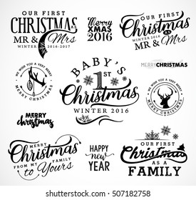 First Christmas as Family, Baby, Mr & Mrs Christmas Design Elements in Vintage Style on White Background. Typography Template for Greeting Cards and Invitations