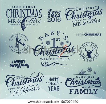 First Christmas Family Baby Mr Mrs Stock Vector Royalty Free