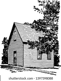 The first church of salem founded by the Puritan colonistsvintage line drawing or engraving illustration.