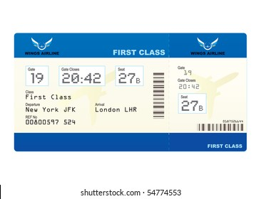 First class boarding pass or plane ticket with destination