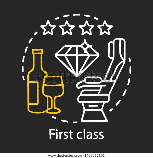 First Class Chalk Icon Passenger Seat Stock Vector Royalty Free 1438062101