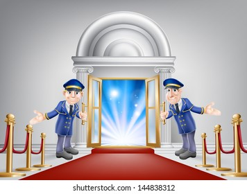 First class treatment conceptual illustration. A venue entrance with a red carpet and red velvet rope and two friendly doormen in uniform welcoming in a VIP guest.