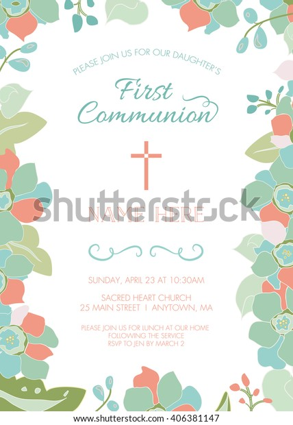 First Communion, Baptism, Christening Invitation Card Template - Floral Design with Cross