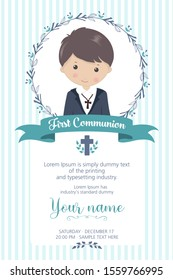 First communion boy. Child with communion dress and flower frame, in green and blue tones