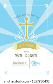 first communion boy invitation template