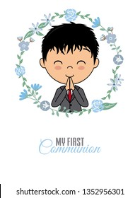 First communion card. Praying boy inside a flower frame