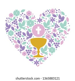 first communion in chalice with floral heart decoration