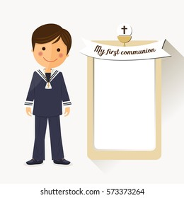 First communion child on square background with message