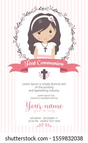 First communion girl. Girl with communion dress and flower frame, in pink and brown tones