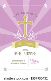 first communion girl invitation template