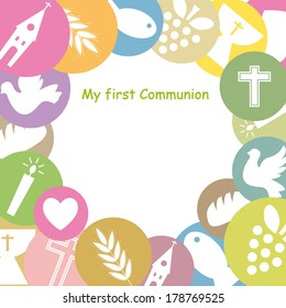 First Communion Invitation Card. framework