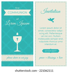 First communion invitation, template. Blue and cream colors. Illustration of chalice with wine.