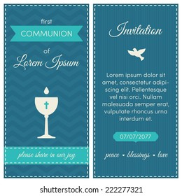 First communion invitation, template. Blue, azure and cream colors. Illustration of chalice with wine on a chevron background.