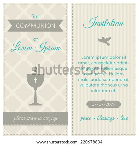 first communion invitation template blue gray and cream colors illustration of chalice
