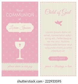 First communion invitation, template. Pink and cream colors. Illustration of chalice with wine. On a polka dot background.