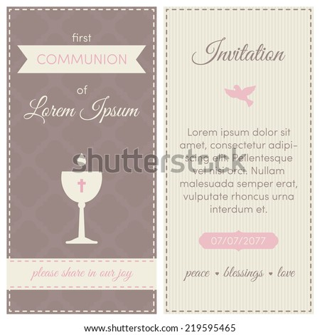 first communion invitation template pink brown and cream colors illustration of chalice