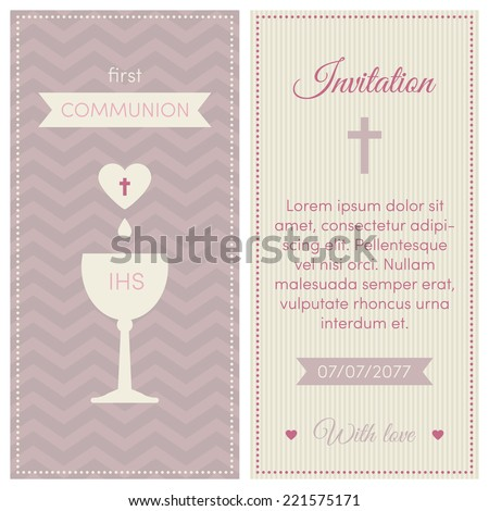 first communion invitation template pink puce and cream colors illustration of chalice