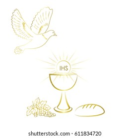 First communion symbols for a nice invitation design.